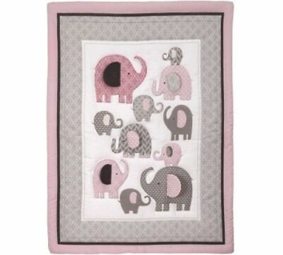 Little Bedding by NoJo Elephant Time 3 Piece Crib Bedding Set, Pink