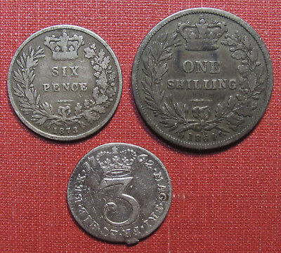 LOT OF (3) UK SILVER COINS- TWO WITH DIE PAIR NUMBERS PLUS 18th CENTURY 3 PENCE!