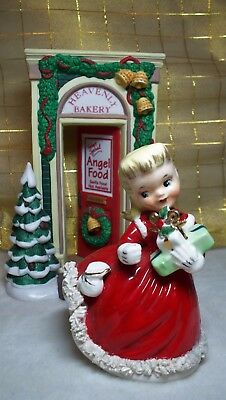 Napco Christmas Girl Figurine with Presents ~ AX1697 B SHOPPER GIRL