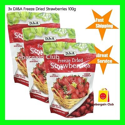 NEW 3x DJ&A Freeze Dried Strawberries 100g Vegan Snack DJA eBC