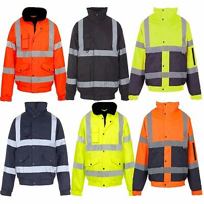 Unisex Hi Viz Vis Visibility Contractor Safety Bomber Jacket Waterproof Coat