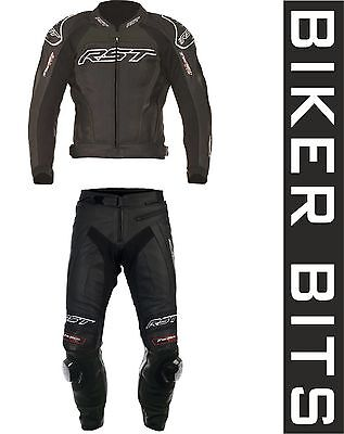RST TRACTECH EVO 2 Black Motorcycle 2PC Leathers Jacket & Trousers Reg/Short Leg