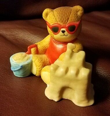 "Teddy Bear Figurine - Sand Castle Ceramic appx. 2"" tall x 2"" x 2.5"" Gd Lucy Rigg"