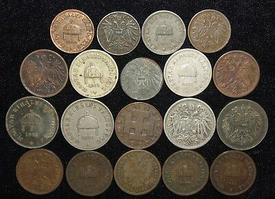 19 Coins from Austria - Hungary.  1881-1930.  No Reserve!!