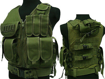 Tactical 045 Molle Combat Vest Magazine Pouch Airsoft Paintball Military OD