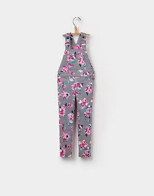 Joules Heidi Girls Stretch Dungarees with Strap Fastening in Stripe Floral