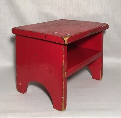 Small Antique Vintage RED Painted Wood Stool, Stand, Bench with Shelf