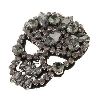 Iron/Sew On Shiny Crystal Skull Patch Rhinestone Clothes Bags Applique Motif