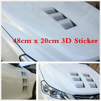 1pcs Car 3D Fake Vents Decorative Outlet Side Hood Vents Stickers Vehicle New