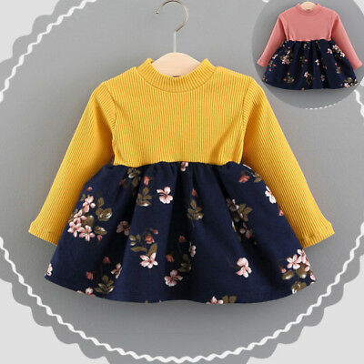 Newborn Toddler Baby Girl Long Sleeve Floral Knitted Party Princess Tutu Dresses
