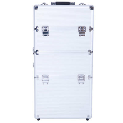 Professional Makeup Rolling Hair Stylist Case 3 in 1 Organizer Trolley Aluminum