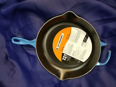 NEW  Le Creuset #30 Large Cast Iron Round Skillet 11 3/4 Inches Blue Marseille