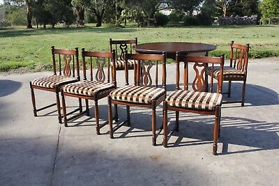 Round Antique Style Extension Dining Setting Table 6 Upholstered Chairs Delivery