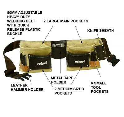 Double Leather Tool Belt Pouch Builders Tape Holder Hammer Loop Knife Sheath Jb