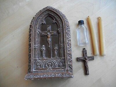 Vtg Antique Last Rights Religious Carved Wood Box Holy Water Bottle Candle Cross