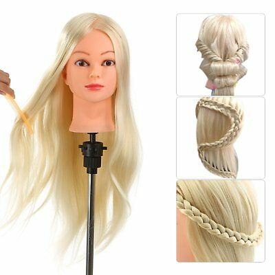 "Hairdressing Training Head 26"" Human Hair Practice Mannequin Blond with Clamp"