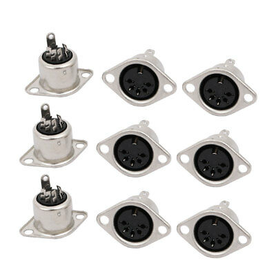 9Pcs 5Pin Female Jack DIN Adapter Sockets Panel Mount Connector
