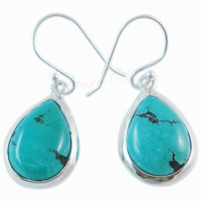 Solid 925 Sterling Silver Handmade Fine TURQUOISE GEMSTONE Lovely Earring c-1383