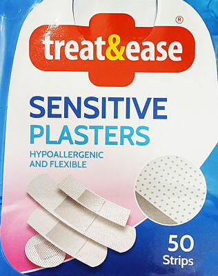 50 x Hypoallergenic Flexible Plasters Assorted Sizes Waterproof Wound Protection