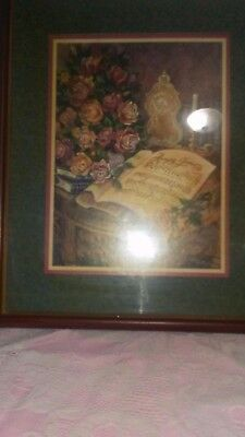 """4 Your Home Interiors 'Picture """"AMAZING GRACE """" with Music Sheet And Flowers"""