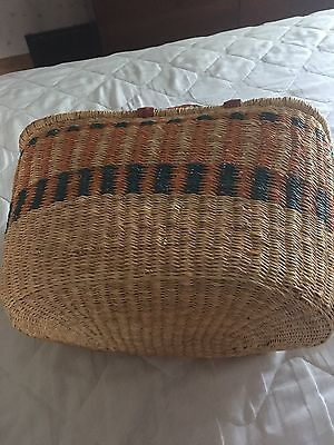 African Basket by Fair Trade With Orange and Aquamarine & Leather handles.