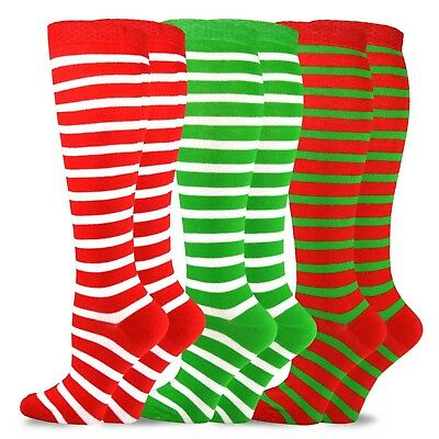 f88dfbebe Christmas and Holiday Fun Knee High Socks for Women 3-Pack (Candy Cane)