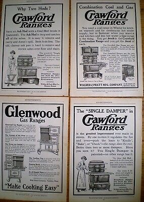 4 ORIGINAL Ads ~ 1914 ~ STOVES & RANGES ~ GAS & COAL ~ CRAWFORD and GLENWOOD