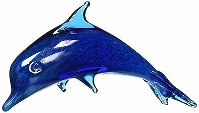 StealStreet SS-UG-UGW-7682 Bubble Blue Crystal Glass Dolphin Figurine Statue