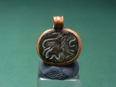 Ancient Gold & Bronze Pendant Lion & Snake Image Greco-Roman 200 Bc-100 Ad