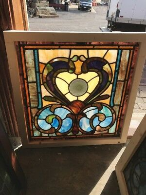 Sg 1647 Antique Stained Glass Rondell Window 25W 25.5 H