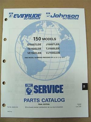 1991 OMC Johnson Evinrude EI 150 HP Outboard Motor Engine Parts Catalog 434253