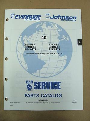 1991 OMC Johnson Evinrude EI 40 HP Outboard Motor Engine Parts Catalog 434262