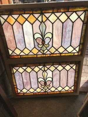 SG1649 2available priced each antique Stainglass transom window 19.5 x 30.25