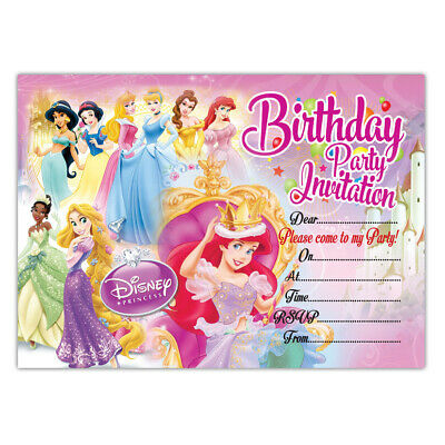 Disney Princess Birthday Party Invitations, Pack of 20 Invites, Girls, Children