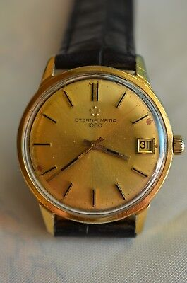 Original goldfarbene Eterna-Matic 1000 Automatic Kal.1489K Swiss Made 60er Jahre