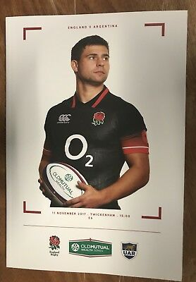 TWICKENHAM 2017 OLD MUTUAL WEALTH ENGLAND v ARGENTINA NEW PROGRAMME
