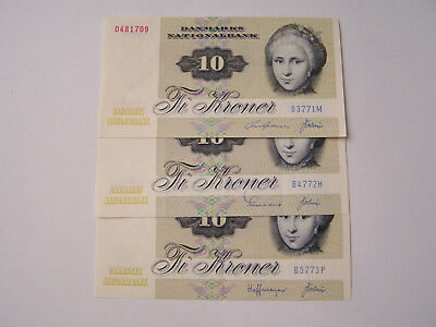 bank notes Denmark - 10 kroner 1977 - 3 pcs. - EF- aUNC
