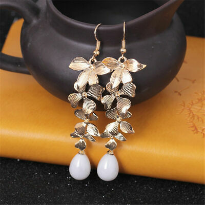 Beautiful Orchid Flower Pearl Drop Earring Fashion Jewelry Gift Earring for Girl