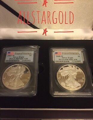 2007-w & 2008-w (2) coins silver eagle proof PCGS PR70 dcam first strike