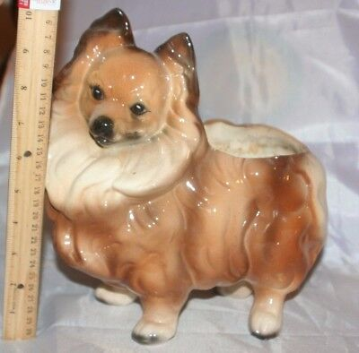 Vintage LARGE Papillon Dog Planter Standing 1950's Hand Painted HUGE Pottery WOW