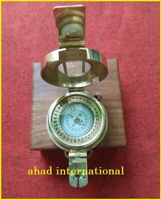 Antique-Nautical-Brass-Military-Compass-Vintage-Collectible-Decor