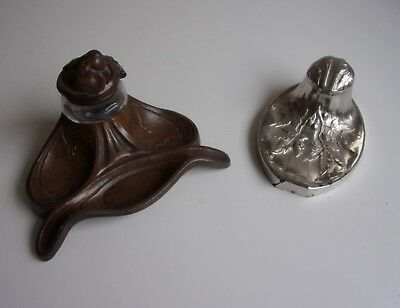 Lot 2 Encrier Ancien Regule Art Deco Art Nouveau Un Signe Vidal Decor Floral Be