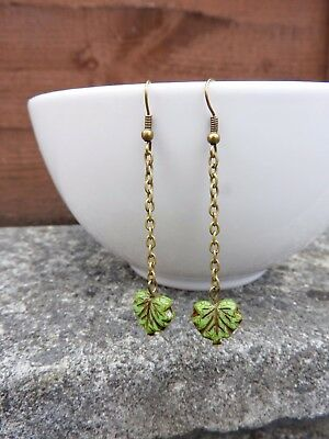 Bohemian Czech vintage handmade long chain green leaf brass dangle earrings