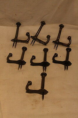 Antique Set of 7  Tap In Cast Iron Double Acorn Hooks Coat Hat Rack Hooks