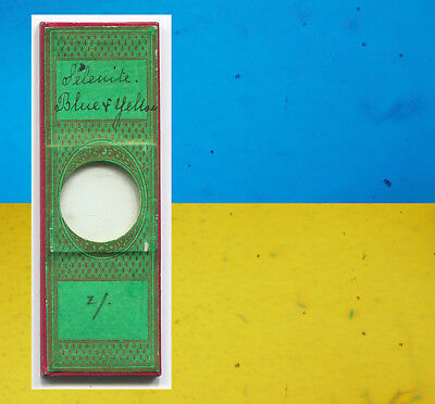 "Blue/Yellow Selenite by ""Greenpapers"" Microscope Slide, ca. 1870"