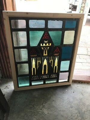 Sg 1650 Antique Painted And Fired Stain Glass House Window 21 x 25H