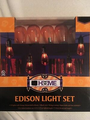Halloween String Lights Edison Bulbs Orange 10 Ct