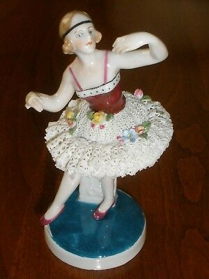 Vintage KARL ENS German Porcelain Dancer/Ballerina w/Lace Skirt Figurine