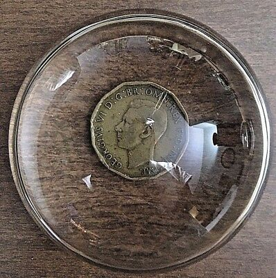 Vintage Glass Dome Desk Paper Weight Magnifier 3.9 coin included