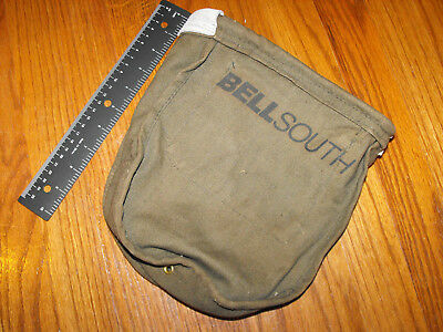 Vintage BELLSOUTH Canvas Lineman / Electrician Bag Pouch Utility Bag Ammo Pouch